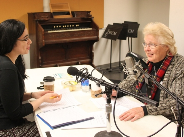 Tessa Updike interviewing Bonnie Hampton for the Conservatory's Oral History Project, April 2013